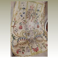 Antique French Religious Needlework Chasuble Panel Embroidered Silk Vestment 17th Century