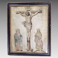 17th Century Religious Embroidery Catholic Church Textile Christ on Cross