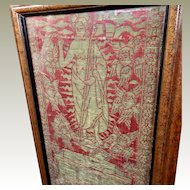 15th Century Florentine Religious Lampas Orphrey Panel The Resurrection Metallic Gold on Red Satin