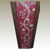 Georgian Embroidered Silk Court Dress Panel Gold Silver Metallic Needlework Flowers