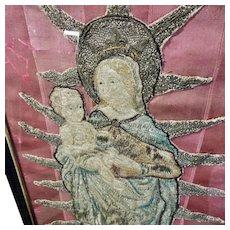 Antique French Religious Embroidery Madonna and Child Silk Metallic Needlework