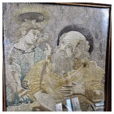17th Century English Needlework Picture Religious Embroidery Biblical Saint Mathew and Angel