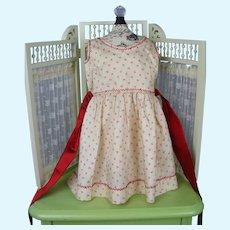 """Seamstress Made Pinafore Dress Cream and Red Silk Print 12 1/2"""" Long Free Shipping"""
