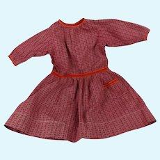 "Dark Red Calico Dress 16"" Length for  Cloth, Papier Mache, or Bisque Doll"