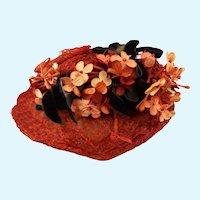 Wonderful Garnet Red Hat for Antique or Vintage Dolls