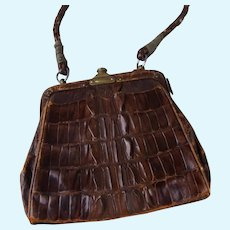 Antique Alligator Purse for a Medium to Large Doll