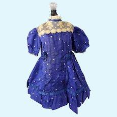 """Cobalt Blue Silk Dress 14"""" long for Doll  about 21""""-23"""""""