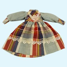 "Striking Plaid Wool Dress with Lace 10 1/2"" long"