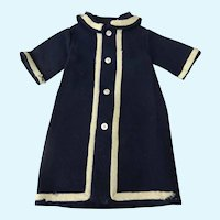 """Navy Wool Mariner Style Dress for Bisque Head Doll about 15"""" tall"""