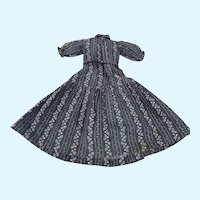 """Antique Calico Dress For China or German Fashion 14 1/2"""" Long"""