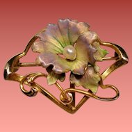 Art Nouveau Iridescent Enamel Flower River Pearl 10 Karat Gold Watch Pin