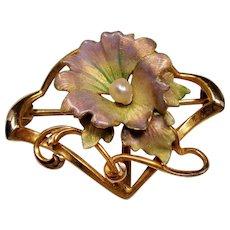 Art Nouveau Iridescent Enamel Flower River Pearl 10 Karat Gold Watch Pin
