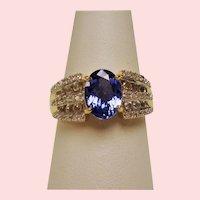 Estate Oval Tanzanite Diamond Colorless Sapphire 10K Ring