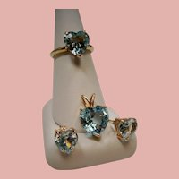 Vintage 14K Blue Topaz Solitaire Heart Ring Pendant Earrings Set