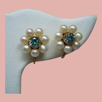 Vintage Blue Zircon Cultured Pearl Flower 14K Earrings