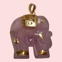 Vintage Lavender Jade Elephant 14K Pendant