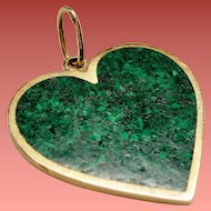 Vintage Malachite Inlay Heart 14 Karat Gold Pendant Charm