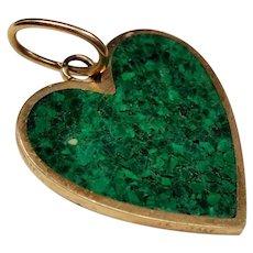 Vintage Malachite Inlay Heart 14K Pendant Charm