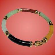 Vintage Chinese Multiple Color Jade Curved Link 14K Gold Bracelet