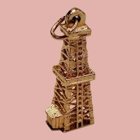 Vintage 14K Gold Old School Oil Well Charm