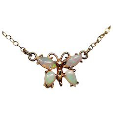 Vintage 14K Gold Opal Butterfly Pendant Necklace