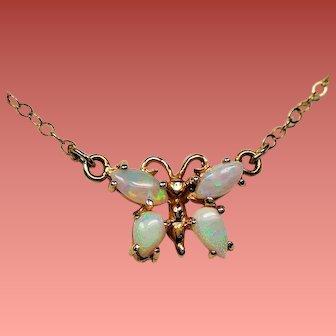 Vintage 14K Gold Opal Butterfly Pendant Necklace
