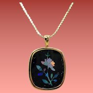 Estate 14K Opal Mosaic Flower Black Onyx Pendant Necklace