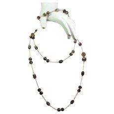Vintage Faceted Smoky Quartz Bead Extra Long 14K Rope Length Necklace & Bracelet Set