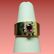 Vintage Meyer Treasure Chest 14K Ruby Diamond Cigar Band Ring