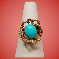 Vintage Persian Turquoise Free Form 14K Ring