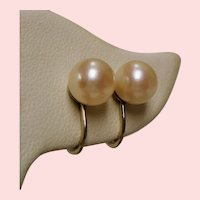 Vintage Cultured Pearl 14K White Gold Earrings