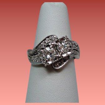 Vintage Art Deco You & Me Diamond Cross Over 14K White Gold Engagement Wedding Ring