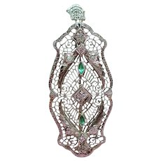 Art Deco 14K White Gold Filigree Old European Cut Diamond Simulated Emeralds Pendant Brooch