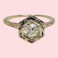 Vintage Art Deco Half Carat Old European Cut Diamond 14K White Gold Engagement Ring