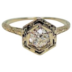 Vintage Art Deco Half Carat Old European Cut Diamond 14K White Gold Engagement Ring