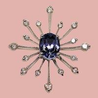 Vintage Oval Tanzanite & Diamond 14K White Gold Twinkling Star Pendant