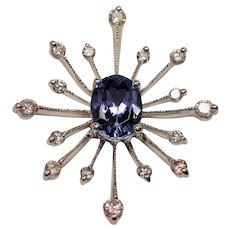 Vintage Oval Tanzanite & Diamond 14K White Gold Twinkling Star Pendant
