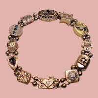 Antique Late Victorian Diamond and Gemstone 14K Slide Bracelet