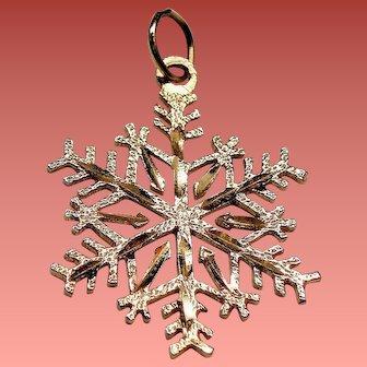 Vintage 14K Gold Cut Out Snowflake Charm Pendant