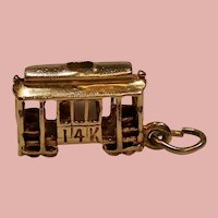 Vintage 14K Gold Street Car Cable Car Charm
