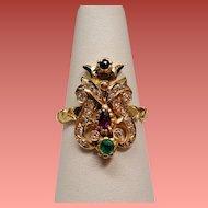 Antique Belle Epoque Precious Gemstone 18K Ring