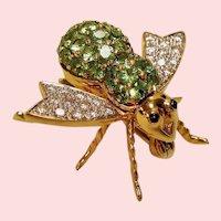 Vintage Green Demantoid Garnet Diamond Encrusted 18K Bee Pin