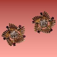 Vintage Retro Modern Spinel 18K Gold Earrings