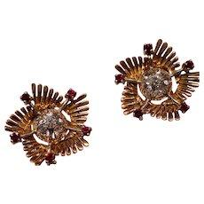 Vintage Retro Modern Spinel 18K Gold Earrings