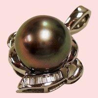 Estate Tahitian Cultured Pearl Diamond 18K White Gold Enhancer Pendant