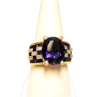 Estate 6.50 Carat Iolite Diamond 18K Ring