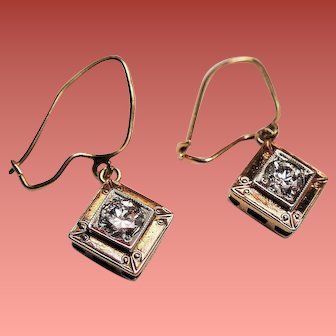Vintage 1920's Transitional Cut Diamond 14K Gold Platinum Drop Earrings.