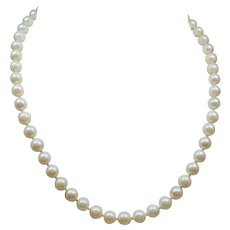 Vintage 6.5 MM Cultured Pearl Choker Length Necklace 14K White Gold Filigree Clasp