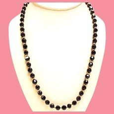 Vintage Faceted Garnet Bead Princess Length Necklace Gold Filled Clasp.