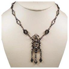 Vintage Italy 800 Silver Drop Cherub Pendant Choker Necklace